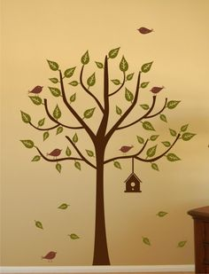 Vinyl Wall Decal Tree with Birdhouse Set by homesweetwalls on Etsy Owl Theme Classroom, Classroom Walls, Tree Decals, Vinyl Wall Decals, Tree Wall Painting, Tree Svg, Baby Decor, Vinyl Designs, Colorful Pictures