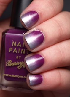 Purple and silver Ombre nail art design. A great looking nail art design for short nails that's simple yet elegant at the same time. Nails Opi, Uk Nails, Gradient Nails, Gradient Color, Shellac, Nail Art Designs, Purple Nail Designs, Nails Design, Fabulous Nails
