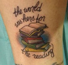 Fresh Ink. My new book lovers tattoo by Erika Jones.
