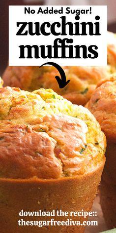 Sugar Free Deserts, Sugar Free Recipes, Gluten Free Muffins, Healthy Muffins, Zucchini Muffins, Diy Recipe, Fall Baking, Cornbread, Free Food
