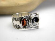 Garnet ring sterling silver Wide ring Silver by nikiforosnelly, $89.00
