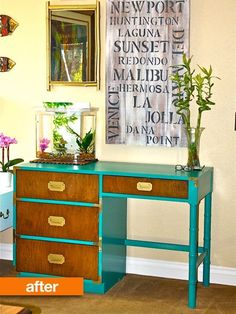 You don't have to repaint an entire piece of furniture to create a huge impact on the look; one of the most interesting recent trends in furniture painting DIY has been the contrasting or colorful outline. We grabbed nine examples of how folks took this idea and put their own spin on it. Perhaps you'll find inspiration for your own furniture re-do!