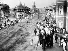 Nizams procession in Old Hyderabad, taken in - Jaisalmer, Udaipur, Old Pictures, Old Photos, Elephant India, Arunachal Pradesh, History Of India, Vintage India, Srinagar
