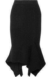 Ribbed-knit wool-blend midi skirt