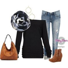 SET Small (pre-order) Set 978: Black Off Shoulder Slouchy (incl. top, scarf & earrings)
