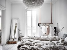 I like the vibe of this home. The green-grey walls combined with the white hard wood flooring give the home a very fresh look and the furniture and accessories are chosen very carefully to create a stylish, cozy place with character. Grey Walls, Scandinavian Bedroom, Bedroom Interior, House Interior, Interior, My Scandinavian Home, Home Decor, Home Bedroom, Home Decor Inspiration