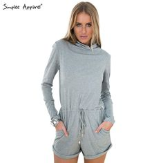 Simplee Apparel 2015 new arrival autumn winter women jumpsuit romper Cotton long sleeve jumpsuit Tunic playsuit grey macacao - free shipping worldwide