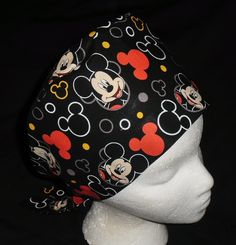 Disney Mickey Mouse Toss Ladies Nurses Surgical Scrubs Hats Scrub Caps Reusable Fabric Pixie Caps