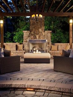 Against wall on left side of pool An outdoor fireplace design on your deck, patio or backyard living room instantly makes a perfect place for entertaining, creating a dramatic focal point. Backyard Patio, Backyard Landscaping, Deck Pergola, Roof Deck, Backyard Pavilion, Pergola Kits, Stone Backyard, Patio Stone, Cozy Patio