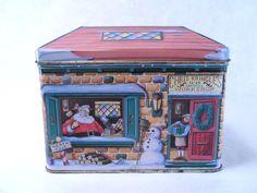 Tin Santa's Workshop Building Vintage 80's