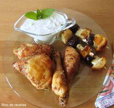Bloc de recetas: Pollo con brochetas y salsa Griega