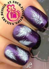 NAIL ART WRAP WATER TRANSFER DECALS WHITE FLUFFY SWAN FEATHERS #81