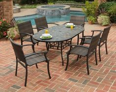 $1557 Home Styles Stone Harbor 65 in. Newport Patio Dining Set - Seats 6 - Patio Dining Sets at Hayneedle