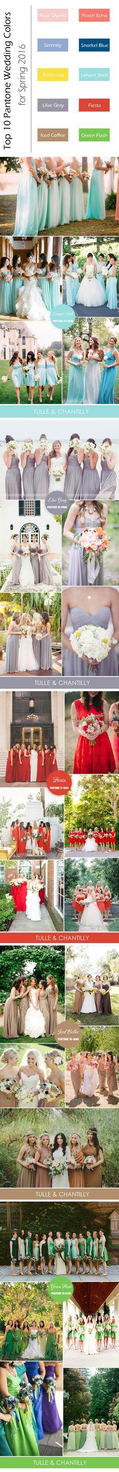 top 10 Pantone spring summer wedding colors for bridesmaid dresses 2016