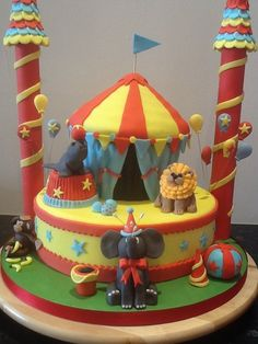 circus cake - by cupcakecarousel @ CakesDecor.com - cake decorating website