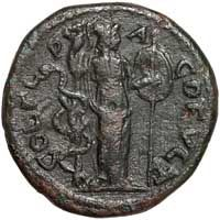 Thereverse of a bronze coin of Caracalla showing Athena and a serpent.