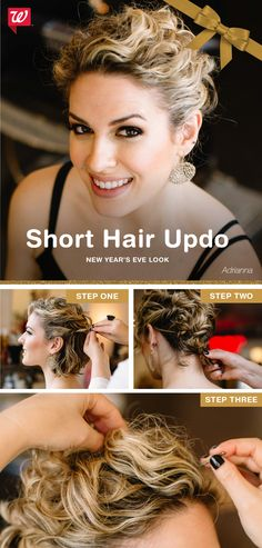 A short hair updo is in your future once you pin down these simple steps: Separate two sections of hair on each side. Twist each upward, then secure to the back of your head with bobby pins. Twist the remaining hair at your nape, tuck under, & pin t Hairstyles With Bangs, Pretty Hairstyles, Straight Hairstyles, Wedding Hairstyles, Short Hair Updo, Curly Hair Styles, Short Bangs, Hair Today, Hair Dos