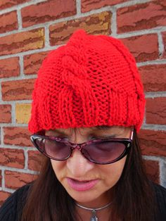 Red cable hat red slouchy beanie by KnitSew4U on Etsy
