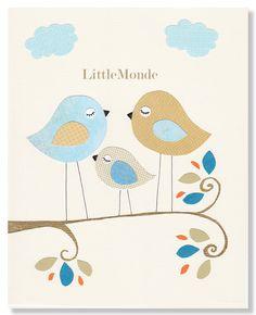 NURSERY ART PRINTS, Art for a Baby Boy, Baby Nursery Art, Blue and Beige Nursery Art, Little Birds Nursery Print. $16.00, via Etsy.