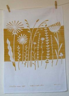 summer weeds screen print on tea towel