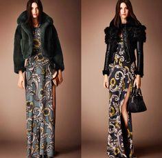 Burberry Prorsum 2014 Pre Fall Womens Presentation - Outerwear Coats Furry Jackets Embroidery Geometric Foliage Prints Lace Peek-A-Boo Dress...