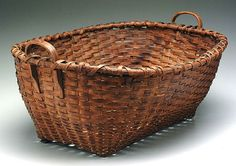"Oak split laundry basket, loss of some wrapping at rim, other minor chips, 14-1/2"" x 31"" x 24"""
