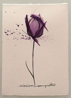 "Art Tattoo Original Sheet ink and watercolor "" Tulipan """
