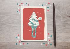I bring the christmas tree! Postcard - Digital Illustration
