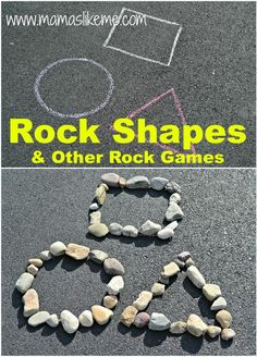 Shape activities: Sidewalk chalk and rocks! :-) Rock Shapes & Other Shape Games for Outdoor Education, Outdoor Learning, Home Learning, Outdoor Play, Outdoor Games, Nature Activities, Toddler Activities, Learning Activities, Shape Activities