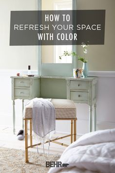 One of the easiest ways to refresh your space is with a new coat of Behr Paint. Whether you're looking for an easy project, like a DIY furniture makeover using Spring Valley, or something bigger, like painting your walls, Behr has a variety of on-trend colors for you to choose from. Click below to learn more.