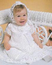 Crochet Christening Set Pattern Dress & Bonnet ePattern