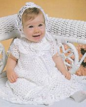 Crochet Christening Set Pattern Dress & Bonnet ePattern