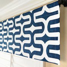 """Dark Blue Valance.Navy Window Valance.Nautical Valance.Modern Valance.Window Treatment Valance.Fabric Choice.52"""" x 15"""".Any Size"""