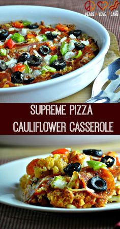 Supreme Pizza Cauliflower Casserole - From Peace, Love, and Low Carb Supreme Pizza Cauliflower Casserole - Low Carb, Gluten Free Tracie Jodrey recipes to try Supreme Pizza Cauliflower Casserole - From Peace, Love Paleo Recipes, Low Carb Recipes, Cooking Recipes, Low Carb Vegetarian Recipes, Meal Recipes, Family Recipes, Cauliflower Casserole, Cauliflower Recipes, Cauliflower Pizza
