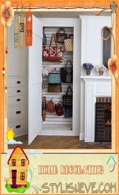 If you have an awkward space in your home that is going unused or has just been catching random clutter, repurpose it with slat wall, found at hardware stores and hooks. The results-a defined storage space. Handbag Storage, Handbag Organization, Closet Organization, Hat Storage, Build A Closet, Ideas Hogar, Hanging Clothes, Slat Wall, Closet Space