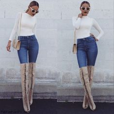 Desi Perkins rocking skinny jeans and suede over-the-knee boots. #desiperkins #overtheknee