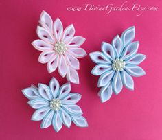 Handmade Kanzashi Satin hair clips Pink Blue by DivineGarden, $13.95