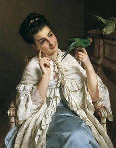 Henry Guillaume Schlesinger - Girl With Lovebirds, 1876