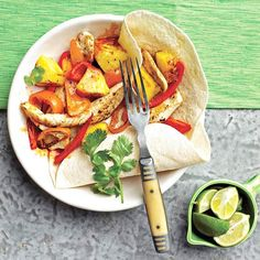 Chicken-Pineapple Fajitas Juicy pineapple and colorful peppers add a touch of spring to classic chicken fajitas.