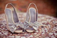 Image by Lola Rose Photography. Bridal accessories. Peep toe wedding shoes. Wedding shoe with bow. Two tone wedding shoes.