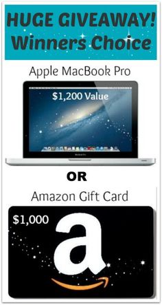 Macbook Pro OR $1,000 Amazon Giftcard Giveaway--Winner's Choice! @ Healy Real Food Vegetarian. Click here-http://www.healyrealfoodvegetarian.com/macbook-pro-giveaway-worth-1200/ #giveaway #apple