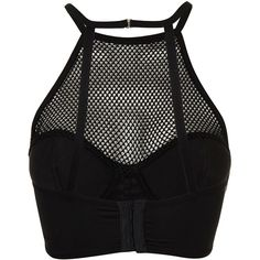 TOPSHOP High Neck Fishnet Stud Corset (94 BRL) ❤ liked on Polyvore featuring tops, crop tops, shirts, tank tops, black, high neck top, high neckline crop top, high neck crop top, fishnet shirt and high neck shirts