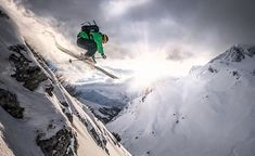 Just another #sunset cliff drop... Rider: @christophpuggl  Location: @lechzuers #arlberg