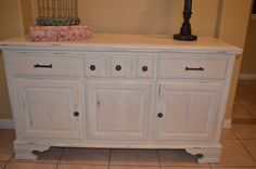 """20% off use Coupon Code """"HOLIDAYBELLA"""" Cream White Vintage Buffet/ Sideboard / Console Cabinet/ Changing Table. $375.00, via Etsy."""