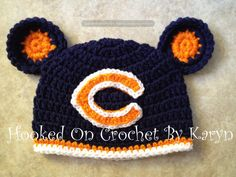 """Chicago Bears """"inspired"""" Crochet Hat on Etsy, $25.00 @Jess Liu Deardurff  I could maybe make one of these..."""