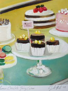 Lemon chocolate fairy cakes by Janet Hill Cupcake Torte, Cupcakes, Chocolate Fairy Cakes, Janet Hill, Oil Painting On Paper, Cake Wrecks, Pastry Art, Incredible Edibles, Ice Cream Party