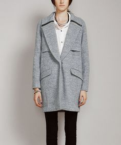 Look what I found on #zulily! Gray Zip-Accent Wool-Blend Coat - Plus #zulilyfinds