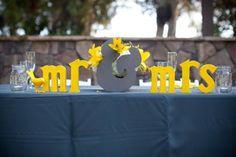 yellow and grey wedding decorations