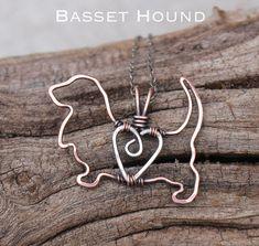 Basset Hound Necklace, Copper Dog, Dog Outline, Wire Jewelry