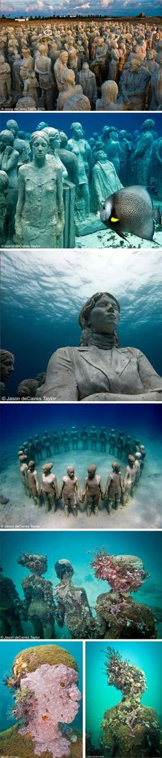 "Jason de Caires Taylor's underwater sculpture garden in Cancun. Constructed out of concrete and steel, and bolted to the ocean substrate, the works here act as artificial reefs that provide ""an ideal habitat for filter feeding organisms.""  http://www.dedeceblog.com/2010/10/13/cancun/"